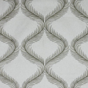 Nom de Plume Silver Gray Embroidered Feather Drapery Fabric / Sterling