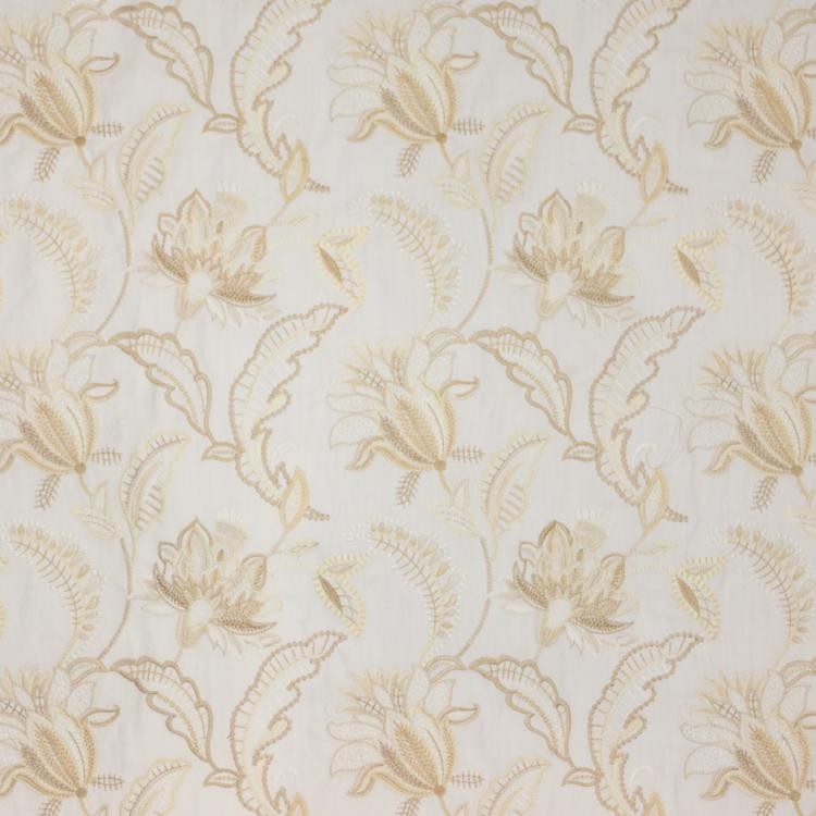 Nottingham Garden Floral Embroidered Ivory Cream Beige Jacobean Drapery Fabric / Candlelight