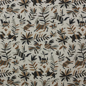 Otomi Charcoal Gray Taupe Fabric Tribal Ethnic Upholstery Tapestry Fabric Animal Print