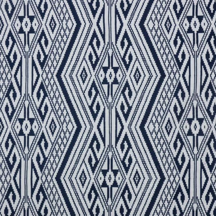 Papago Southwestern Navy Blue White Embroidered Drapery Fabric / Navy