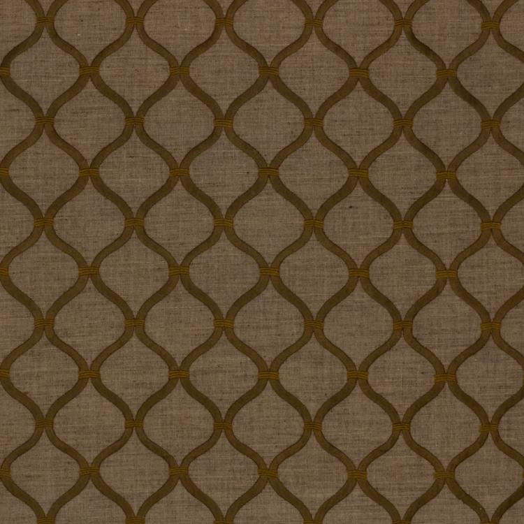 Romesco Trellis Embroidered Brown Geometric Fabric / Toffee