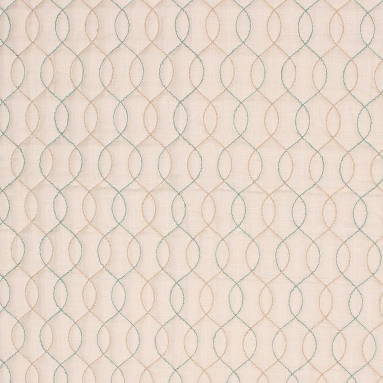 Stitch in Time Beige Embroidered Trellis Drapery Fabric / Aqua Mist