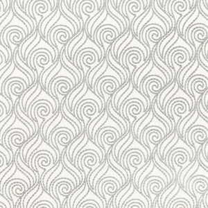 Swirl-A-Way White Beige Embroidered Cotton Linen Blend DraperyFabric / Pewter