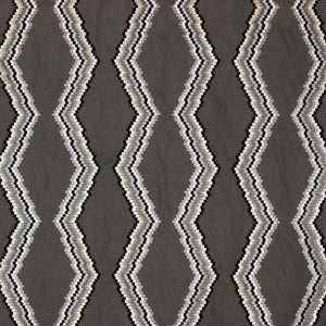 Tiberon Stripe Charcoal Gray White Black Geometric Embroidered Drapery Fabric / Graphite
