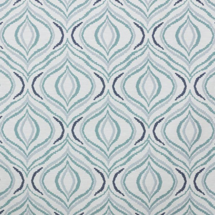 Tradewinds White Aqua Navy Blue Embroidered Drapery Fabric / Cirrus