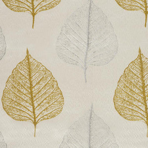 Tree House Cream Gold Silver Gray Botanical Leaf Drapery Fabric / Goldenrod