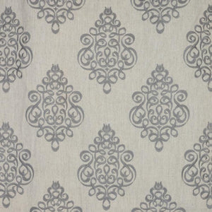 Tuxedo Park Gray Embroidered Upholstery Fabric / Platinum