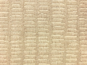 Designer Woven Water & Stain Resistant Abstract Viscose Linen Beige Cream Gray MCM Mid Century Modern Upholstery Fabric
