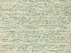 Designer Water & Stain Resistant Teal Aqua Blue Cream Woven Boucle Tweed MCM Mid Century Modern Upholstery Fabric