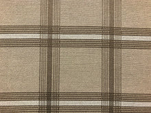 Load image into Gallery viewer, Beige Taupe Brown Windowpane Plaid Outdoor Indoor Water & Stain Resistant Upholstery Fabric