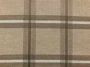 Beige Taupe Brown Windowpane Plaid Outdoor Indoor Water & Stain Resistant Upholstery Fabric