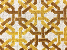Load image into Gallery viewer, Designer Gros Point Epingle Beige Mustard Gold Fretwork Trellis Geometric Velvet Upholstery Fabric