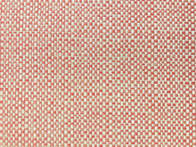 Load image into Gallery viewer, Designer Solution Dyed Acrylic Coral Pink Cream Woven Basketweave Tweed Water & Stain Resistant MCM Mid Century Modern Upholstery Fabric