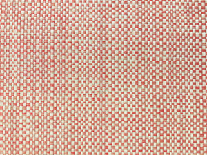 Designer Solution Dyed Acrylic Coral Pink Cream Woven Basketweave Tweed Water & Stain Resistant MCM Mid Century Modern Upholstery Fabric