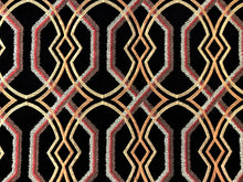 Load image into Gallery viewer, Black Copper Beige Gold Rusty Red Brown Embroidered Trellis Geometric Drapery Fabric