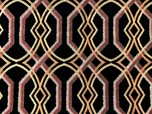 Black Copper Beige Gold Rusty Red Brown Embroidered Trellis Geometric Drapery Fabric