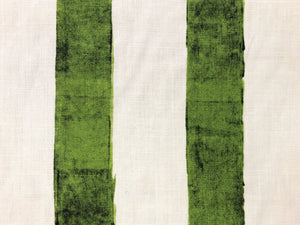 C&C Milano Ombrellone Giada Linen Ivory Lime Green Stripe Printed Upholstery Drapery Fabric