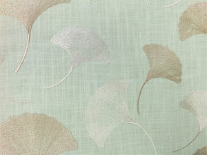 Braemore Textiles Maidenhair Mist Embroidered Ginkgo Leaves Botanical Seafoam Green Beige Linen Viscose Drapery Fabric