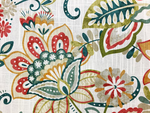 Mill Creek Enya Opal Ivory Teal Green Red Yellow Lime Beige Floral Upholstery Drapery Fabric