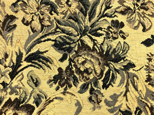 Vintage Floral Cotton Beige Navy French Blue Gray Brown Upholstery Fabric