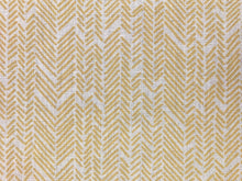 Load image into Gallery viewer, Twill Textiles French Stencil Herringbone Abstract Geometric Belgian Linen Beige Mustard Yellow Upholstery Drapery Fabric
