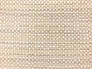 Designer Textured Woven Gray Beige Ivory Neutral MCM Mid Century Modern Tweed Basketweave Upholstery Drapery Fabric