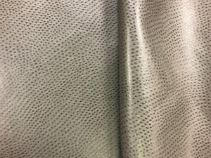 Designer Charcoal Grey Gray Ostrich Animal Pattern Vegan Faux Leather Upholstery Fabric