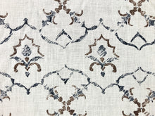 Load image into Gallery viewer, Dek Tillett Linen Moroccan Moorish Brown Navy Blue Ivory Drapery Fabric