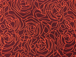 Reversible Designer Marsala Wine Red Orange Abstract Upholstery Fabric