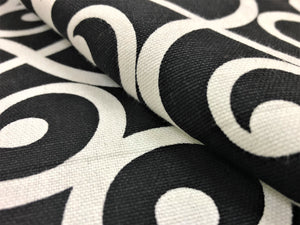 Mill Creek Black & White Armank Noir Scroll Cotton Upholstery Drapery Fabric
