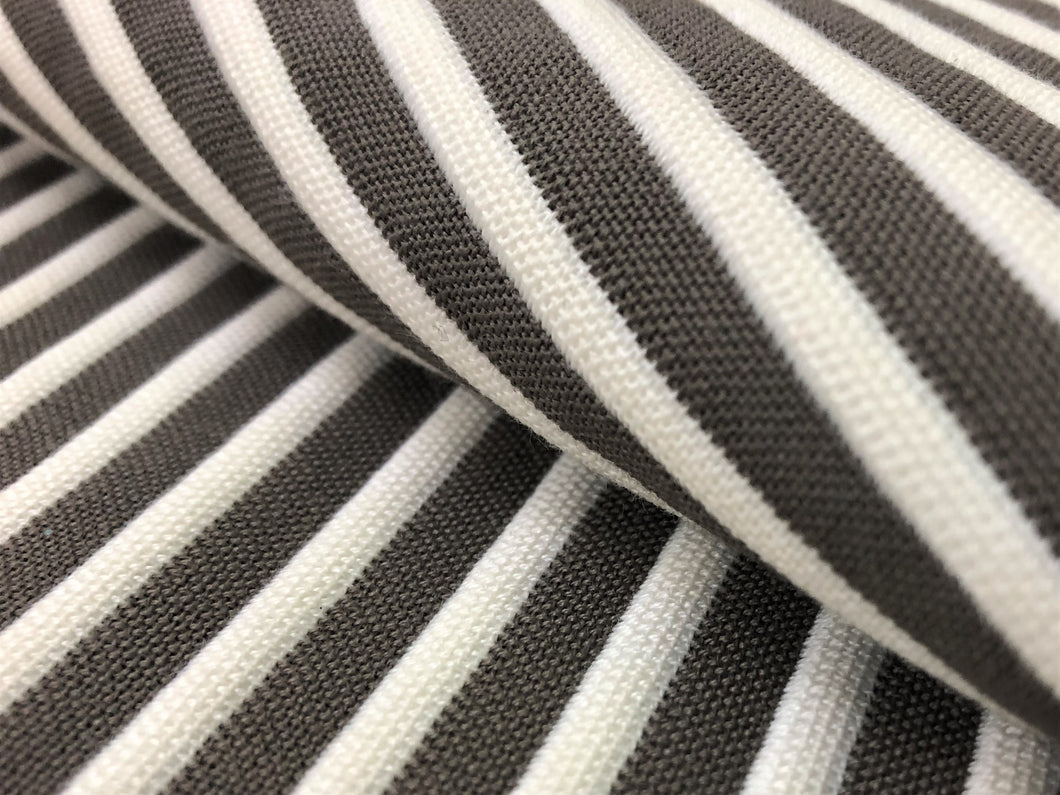 Taupe Beige Off White Nautical Stripe Upholstery Fabric