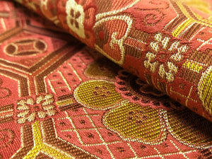Discontinued Schumacher Cloisonne Weave Red Mustard Gold Chinoiserie Asian Cotton Silk Upholstery Drapery Fabric