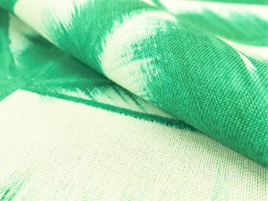 Dedar Milano Fresco 001 Malachite Hand Painted Leaves Geometric Abstract Emerald Green Off White Drapery Fabric