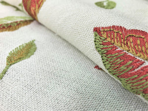 Floral Embroidered Ivory Rusty Red Green Botanical Leaves Pattern Drapery Fabric