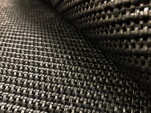 Designer Charcoal Black Woven Genuine Straw Olefin Wicker Rattan Basketweave Water & Stain Resistant Upholstery Fabric