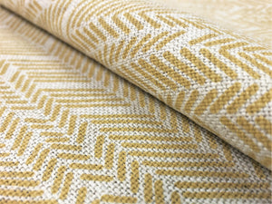 Twill Textiles French Stencil Herringbone Abstract Geometric Belgian Linen Beige Mustard Yellow Upholstery Drapery Fabric