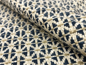 Designer Linen Viscose Navy Blue Beige Off White Woven Small Scale Geometric Upholstery Fabric