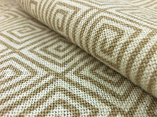 Load image into Gallery viewer, Schumacher Greek Key Hand Printed Beige Sand Ivory Cotton Linen Geometric Upholstery Drapery Fabric