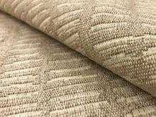 Load image into Gallery viewer, Designer Woven Water & Stain Resistant Abstract Viscose Linen Beige Cream Gray MCM Mid Century Modern Upholstery Fabric