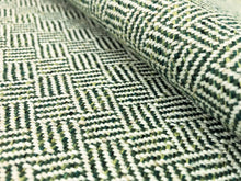 Load image into Gallery viewer, Designer Woven Small Scale Geometric Tweed Green Off White MCM Mid Century Modern Upholstery Fabric