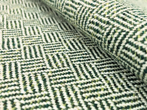 Designer Woven Small Scale Geometric Tweed Green Off White MCM Mid Century Modern Upholstery Fabric