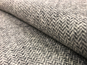 Andrew Martin Wessex Charcoal Wool Polyamide Small Scale Tweed Herringbone Geometric Gray Grey Water & Stain Resistant Mid Century Modern Upholstery Drapery Fabric