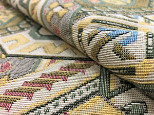 Cotton Southwestern American Indian Tapestry Beige Mauve Coral Red Green Yellow Gray Blue Geometric Tribal Upholstery Fabric