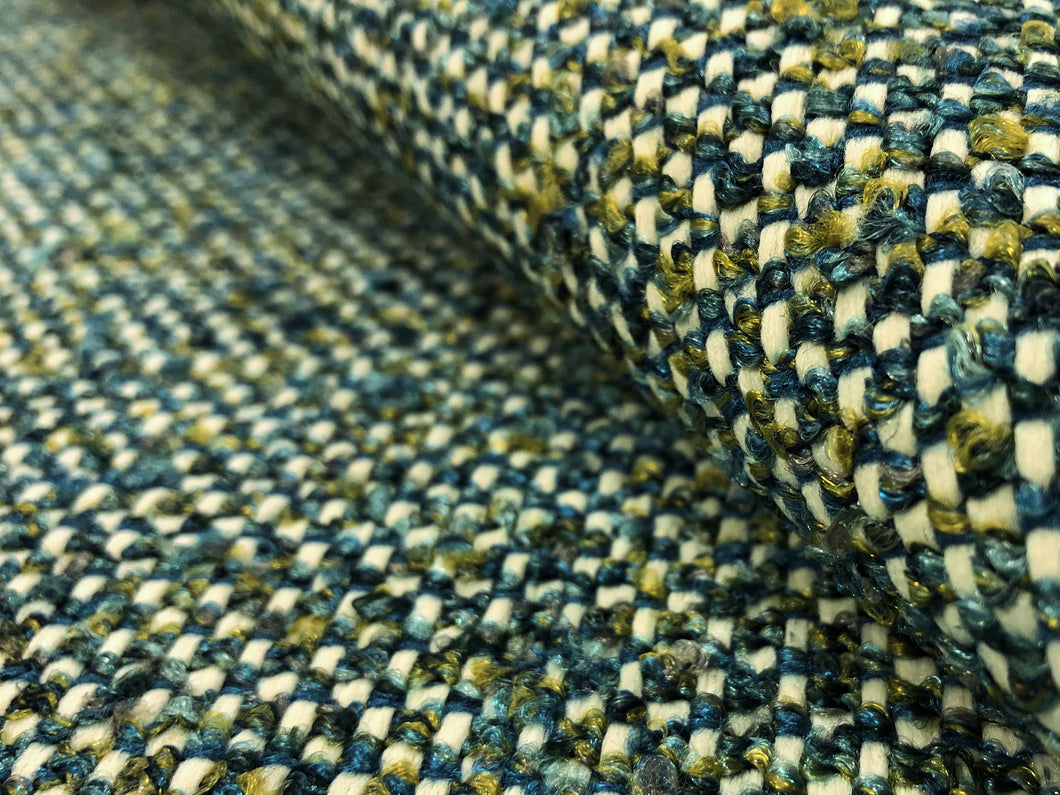 Designer Woven Water & Stain Resistant Teal Blue Chartreuse Green White Boucle Tweed MCM Mid Century Modern Upholstery Fabric