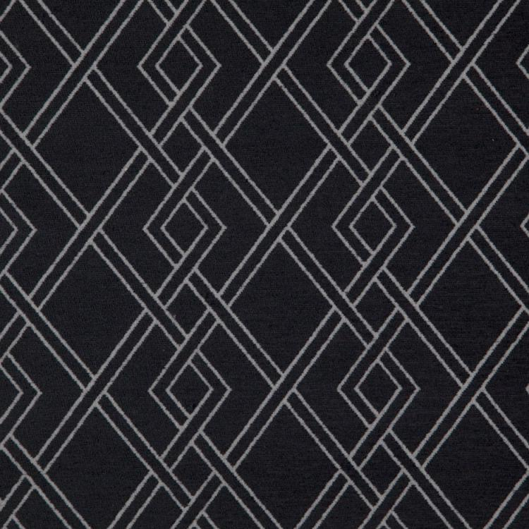 Alton Black Geometric Upholstery Fabric / Onyx