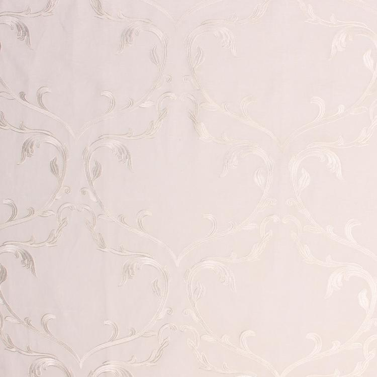 Angelica Beige Embroidered Damask Fabric / Crema
