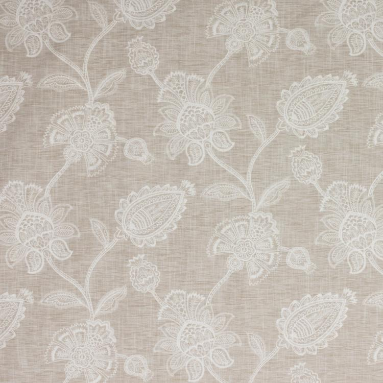Ansley Park Embroidered Neutral Jacobean Drapery Fabric / Sandstone