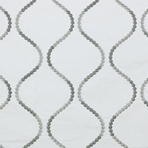 Button Trellis White Gray Embroidered Drapery Fabric / Titanium