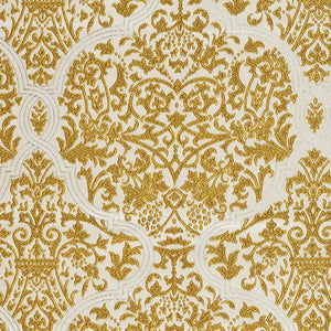 Chalfont Damask Gold Ochre Cream Embroidered Drapery Fabric / Goldenrod