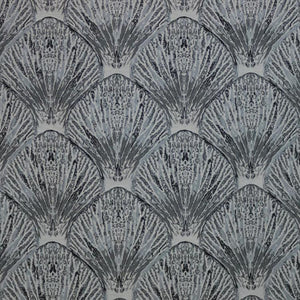 Coquille Gray Nautical Seashell Upholstery Fabric / Pewter